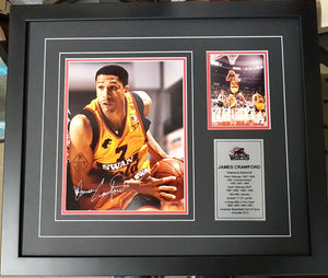 "JAMES CRAWFORD ""ALABAMA SLAMMA"" SIGNED 90'S FRAME, COA - Heroes Framing & Memorabilia"