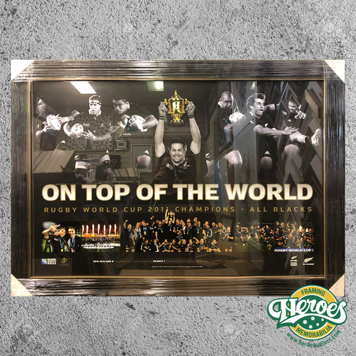 All Blacks - Rugby Union - World Cup Champions ' On Top of the World' Framed Print - Heroes Framing & Memorabilia