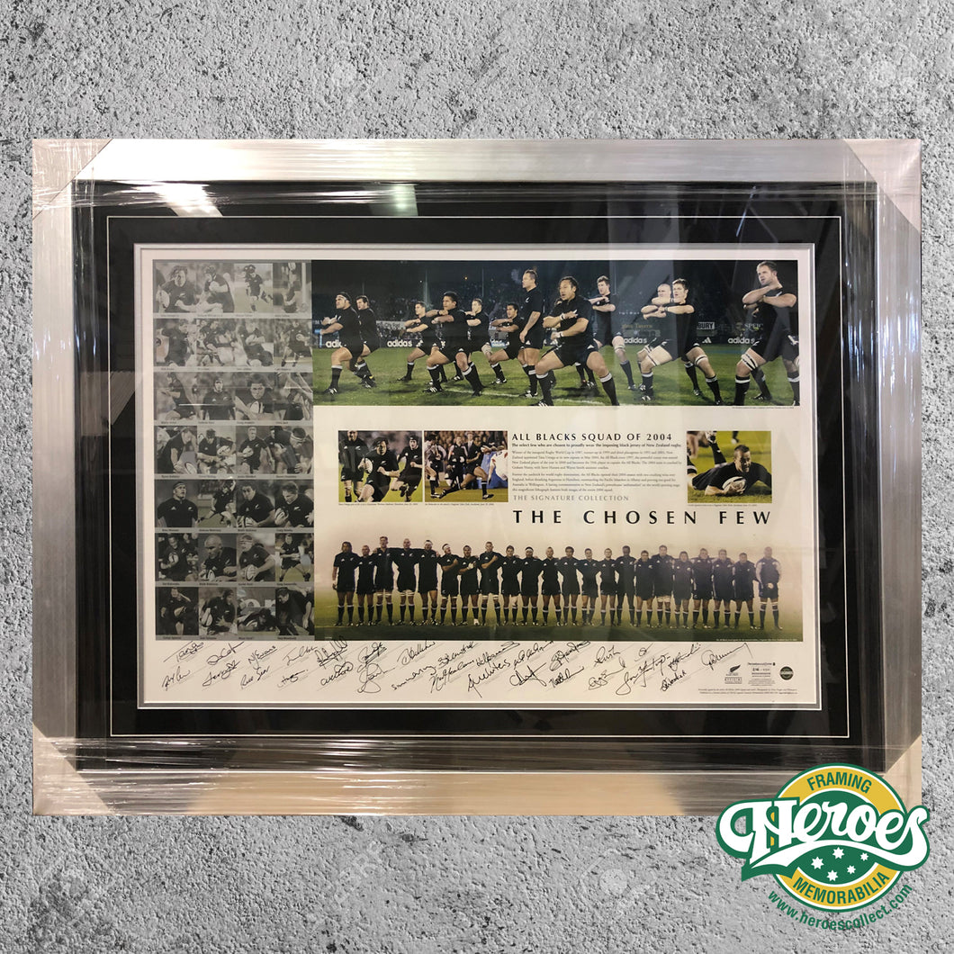 All Blacks - Rugby Union - 2004 'The Chosen Few' Signed and Framed Print - Heroes Framing & Memorabilia