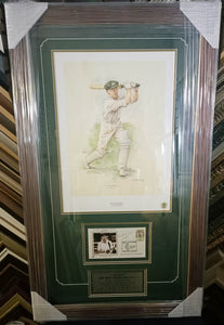 Bradman art print and autograph framed - Heroes Framing & Memorabilia