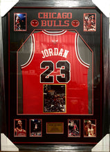 Load image into Gallery viewer, MICHAEL JORDAN BULL JERSEY WITH SIGNED AIR PHOTO - Heroes Framing & Memorabilia