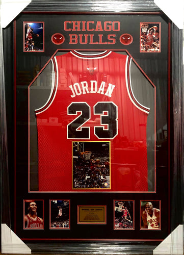 MICHAEL JORDAN BULL JERSEY WITH SIGNED AIR PHOTO - Heroes Framing & Memorabilia