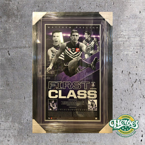 "FREMANTLE DOCKERS – MATTHEW PAVLICH SIGNED & FRAMED ""FIRST CLASS"" - Heroes Framing & Memorabilia"