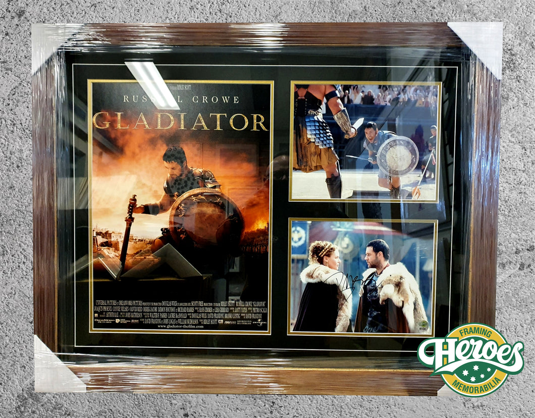 Russell Crowe signed Gladiator movie collage - Heroes Framing & Memorabilia