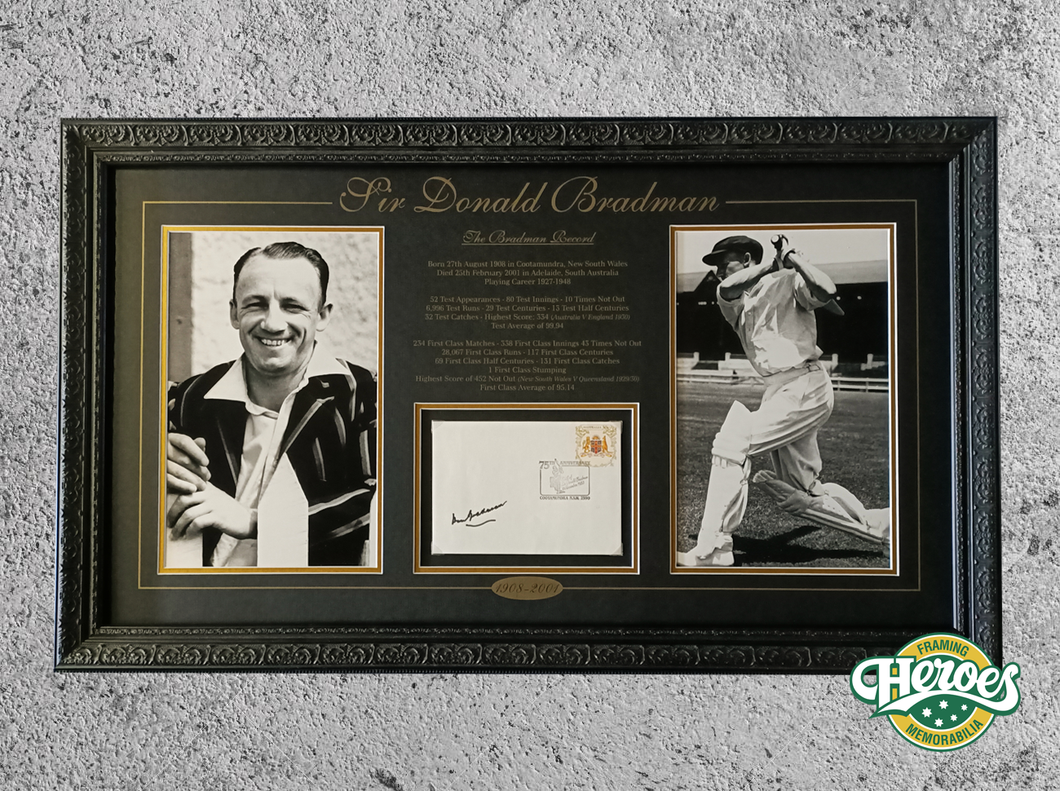 The Bradman Record signed autograph memorabilia piece - Heroes Framing & Memorabilia