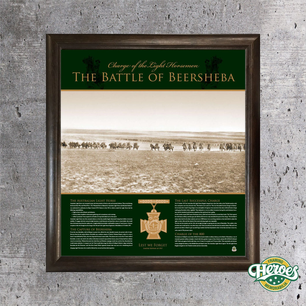 MILITARY – THE BATTLE OF BEERSHEBA PRINT - Heroes Framing & Memorabilia