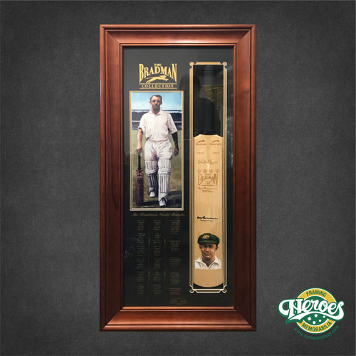 Don Bradman Signed Cricket Bat - Heroes Framing & Memorabilia