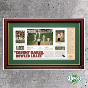 CRICKET – ROD MARSH AND DENNIS LILLEE 'CAUGHT MARSH, BOWLED LILLEE' SIGNED PRINT - Heroes Framing & Memorabilia