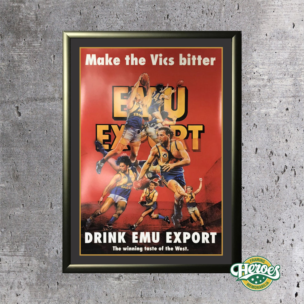 Vintage West Coast Eagles Emu Export Poster - Heroes Framing and  Memorabilia