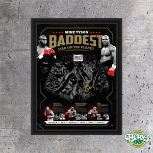 Mike Tyson – Signed & Framed Limited Edition Baddest Man on the Planet Trunks - Heroes Framing & Memorabilia