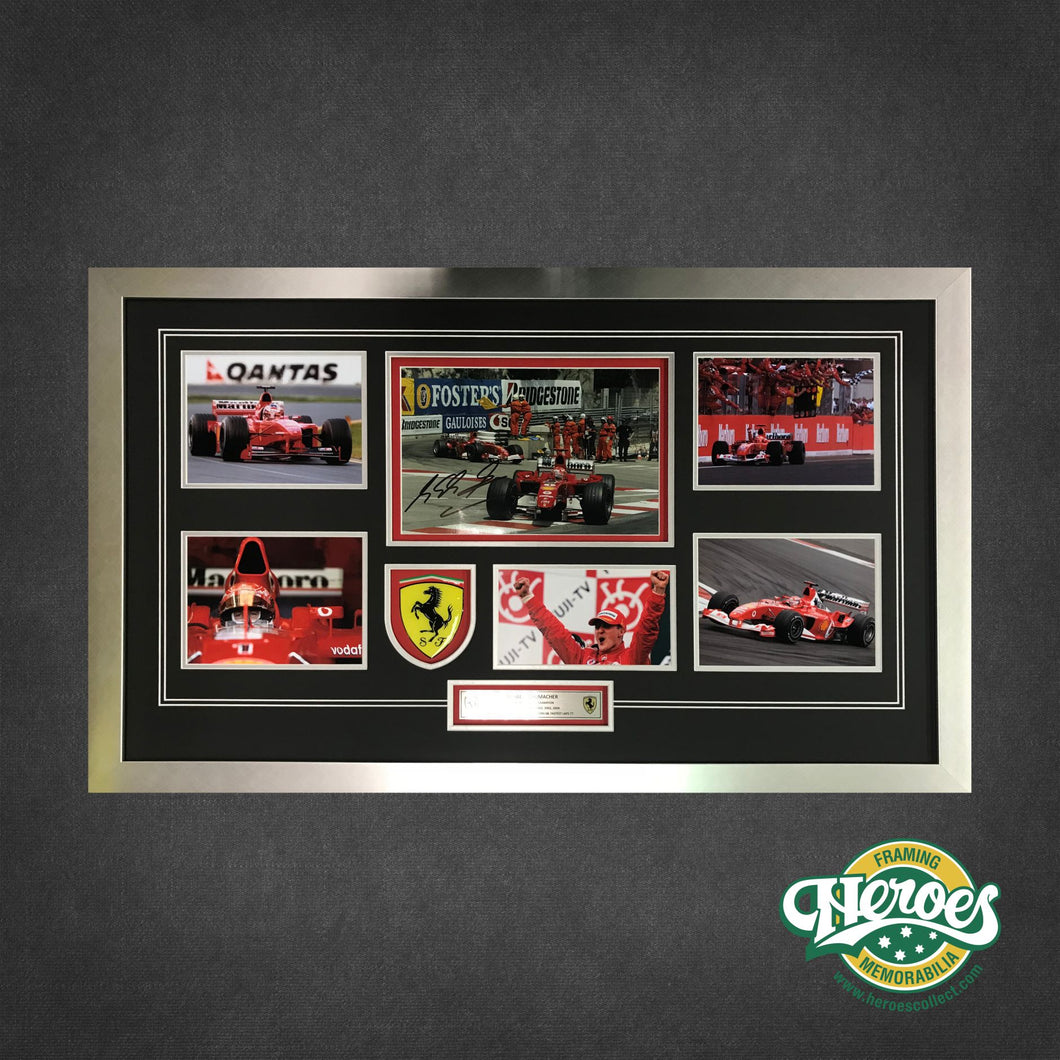 MICHAEL SCHUMACHER SIGNED MONTAGE - Heroes Framing & Memorabilia