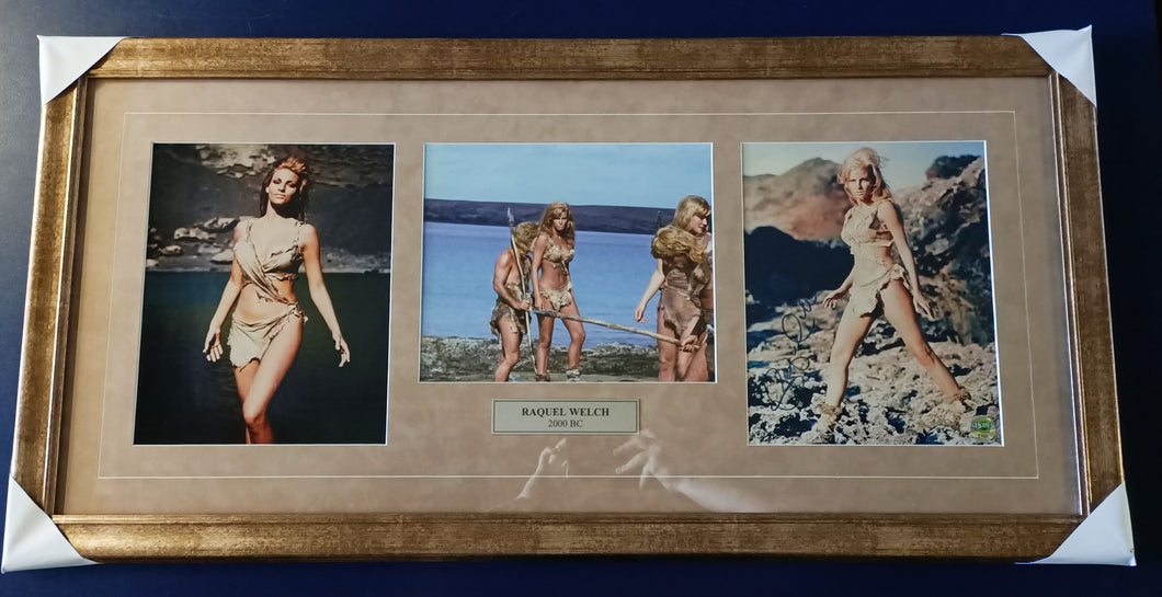 Raquel Welch '2000bc' signed photo montage. - Heroes Framing & Memorabilia