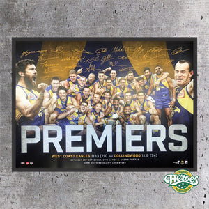 West Coast Eagles 2018 AFL Premiers Facsimile Signed Celebration Poster - Heroes Framing & Memorabilia