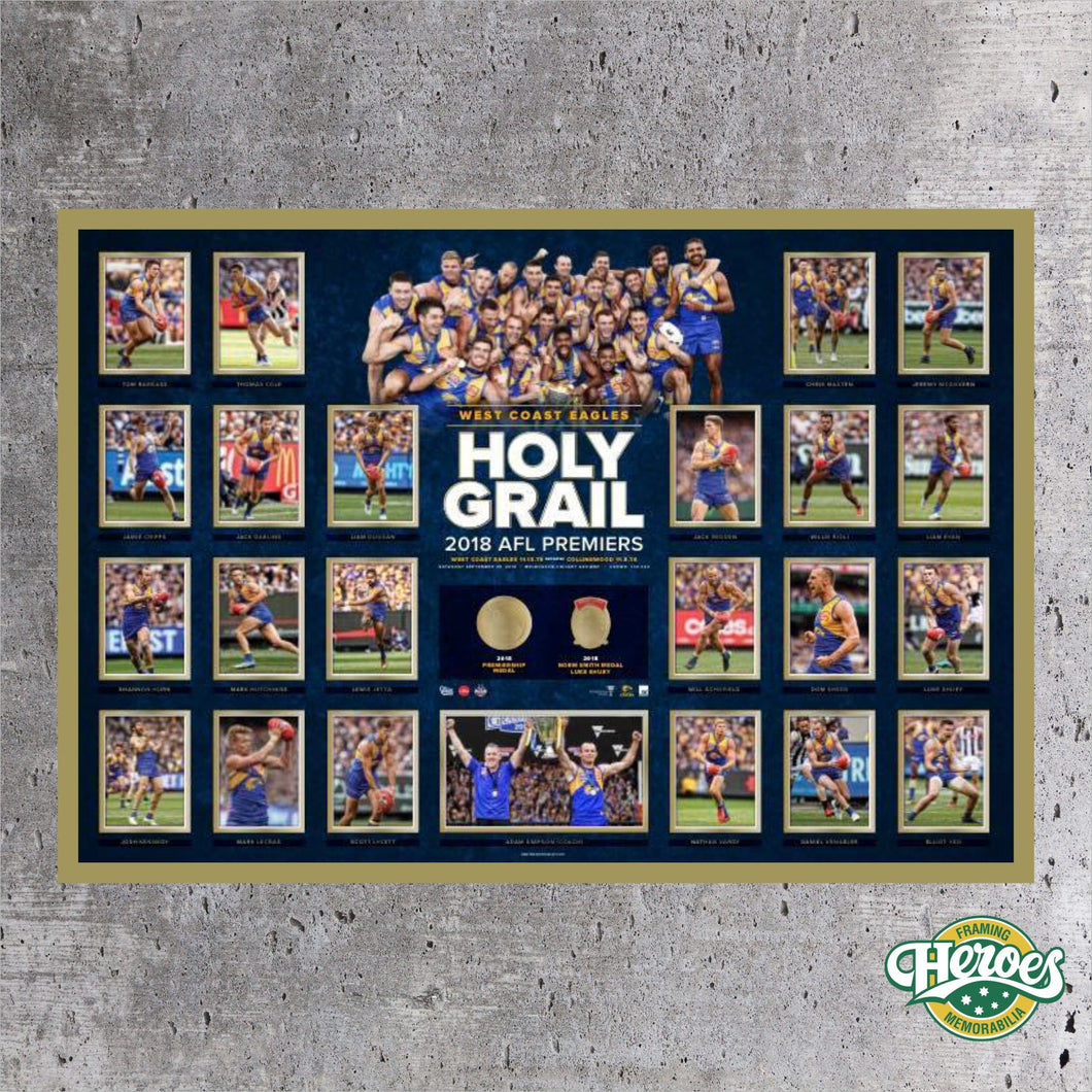 "West Coast Eagles 2018 ""Holy Grail"" - Heroes Framing & Memorabilia"