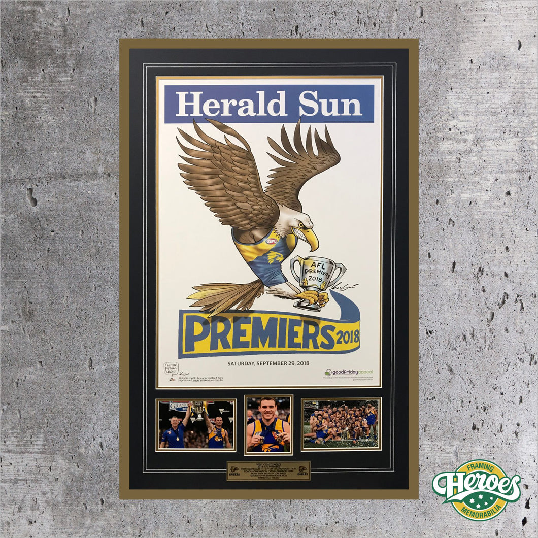 2018 West Coast Eagles Herald Sun Poster Montage - Heroes Framing & Memorabilia