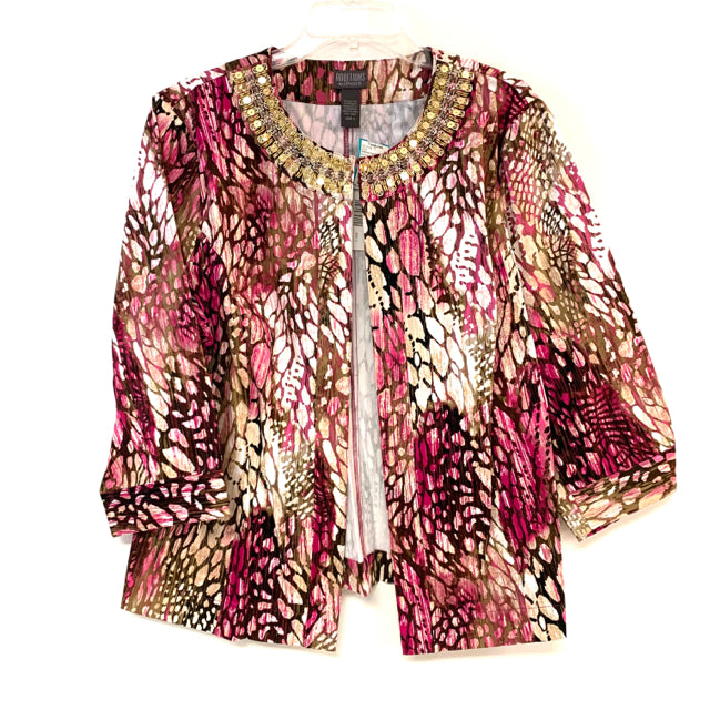 Additions by Chicos Women's Size 3-3x Pink-Multi Animal Print Open Front Jacket