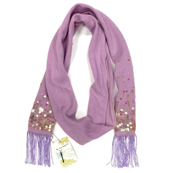 Free People Lilac Wool Blend Sequined Scarf