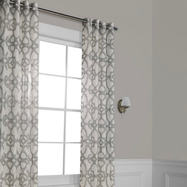 Exclusive Fabrics Furnishings White-Gray Curtains