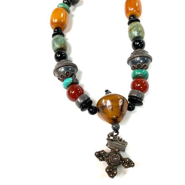 Amber, Tuorquoise, Carnelian Necklace
