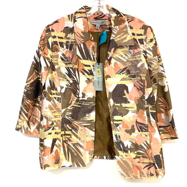 Samantha Grey Women's Size 16-XL Brown-Multi Floral Open Front Jacket