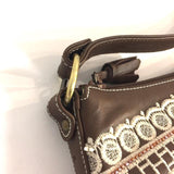 Isabella Fiore Brown-Multi Leather Embroidered Shoulder Bag - Treasures Upscale Consignment