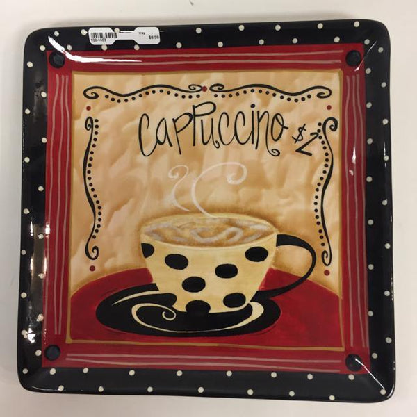 "Certified International Black- Red Tray ""Cappucino $2"""
