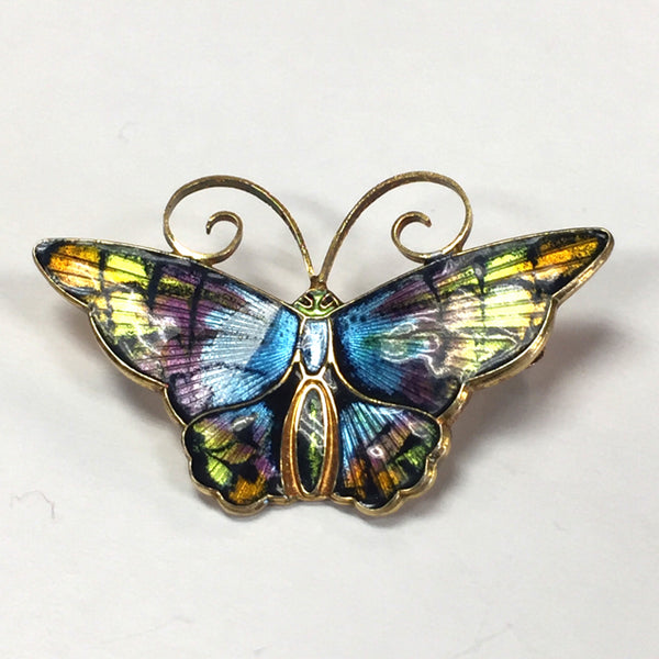 David Andersen Gold-Multi Sterling Silver Butterfly Pin