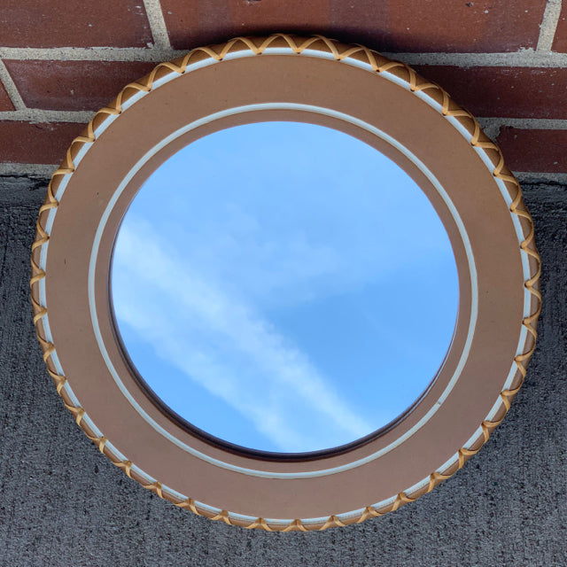Mirror wall Hanging round wicker trim