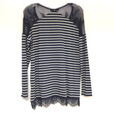 White House Black Market Size S-M Striped Rayon Blend Long Sleeve Top