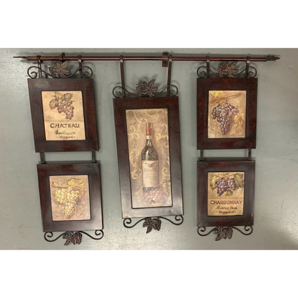 3 Panel Wine Theme Brown Metal Wall Decor