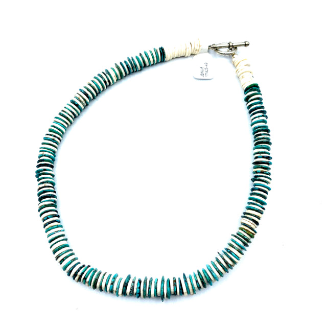 Necklace turquoise and white beads