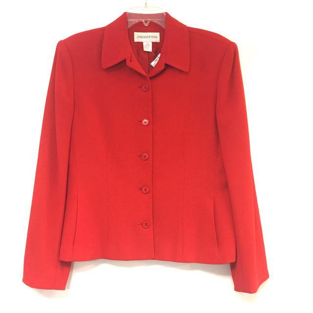 Jones New York Red Size 12-L Solid Triacetate Button Down Jacket - Treasures Upscale Consignment
