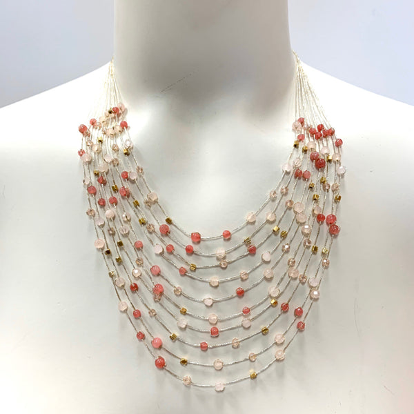 Necklace multi silk strand