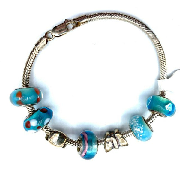 Painted Glass Charm Bracelet