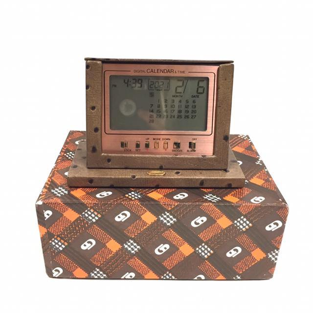 Firenze Brown Leather Alarm Clock / Charger - Treasures Upscale Consignment