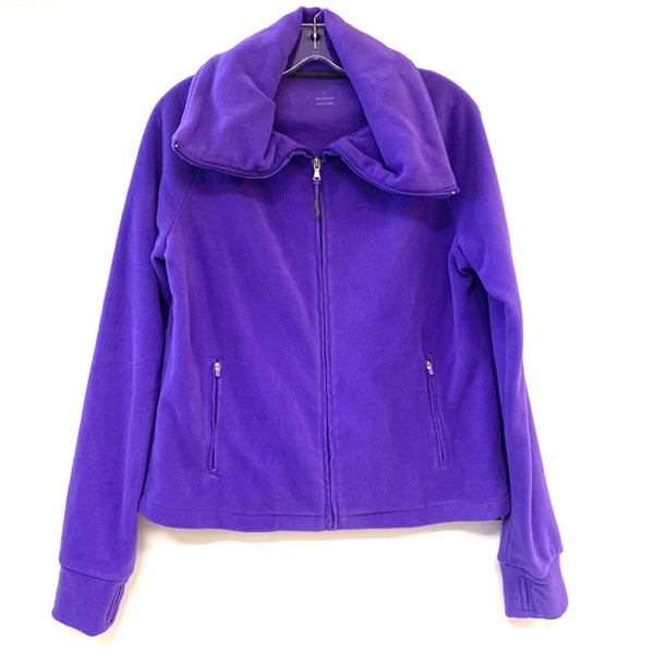 Calvin Klein Women's Size L Purple Solid Fleece Zipper Turtle Neck Fleece