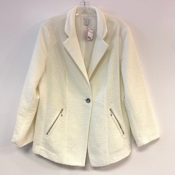 Chico's Women's Size L - 2 White Tweed Polyester Single button Jacket