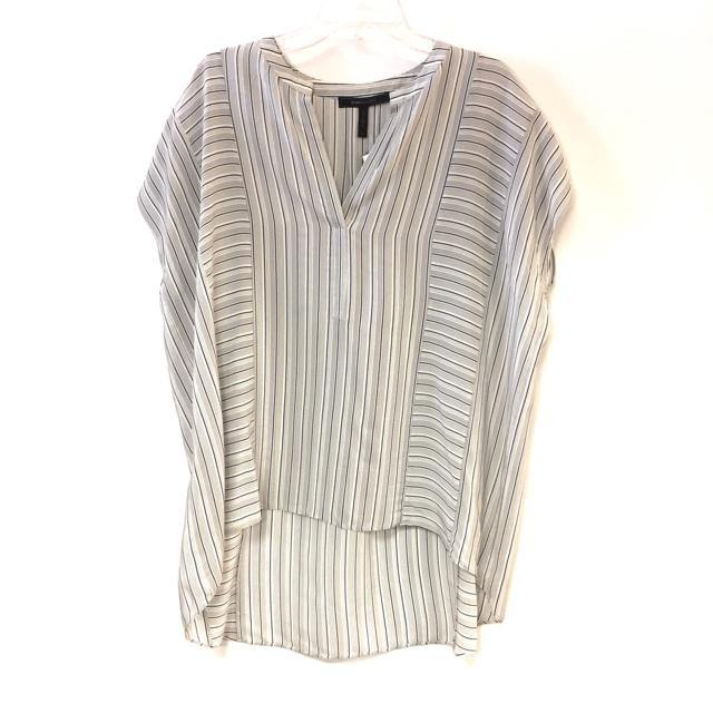 BCBG Maxazria Size L Striped Silk Short Sleeve Top - Treasures Upscale Consignment