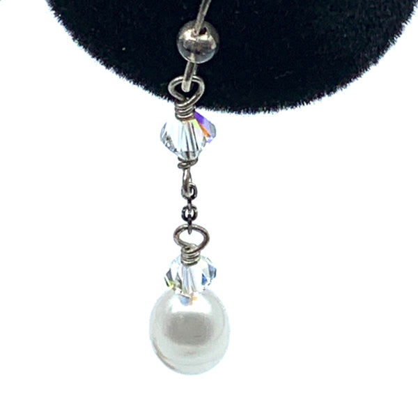 Earrings, pearl with crystals, double wrap, sterling wire