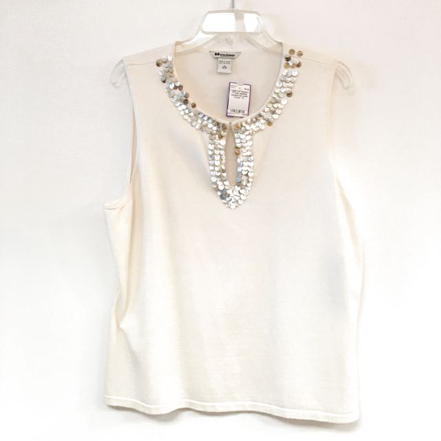 Tanktop  knit abalone beaded neck solid