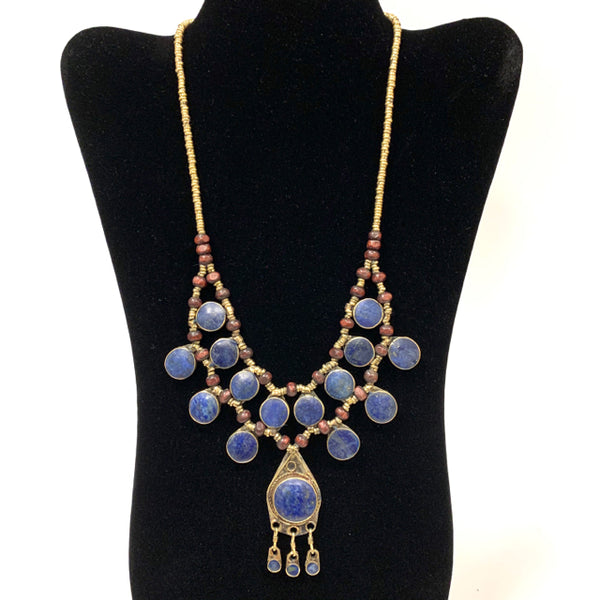 Necklace bib brass wood silver stones 2 layer- teardrop pendant