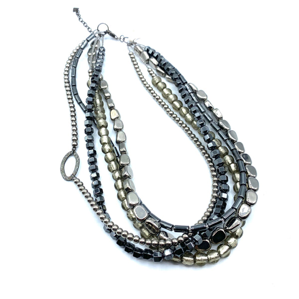 Silpada Necklace silver-black beads 5 strand