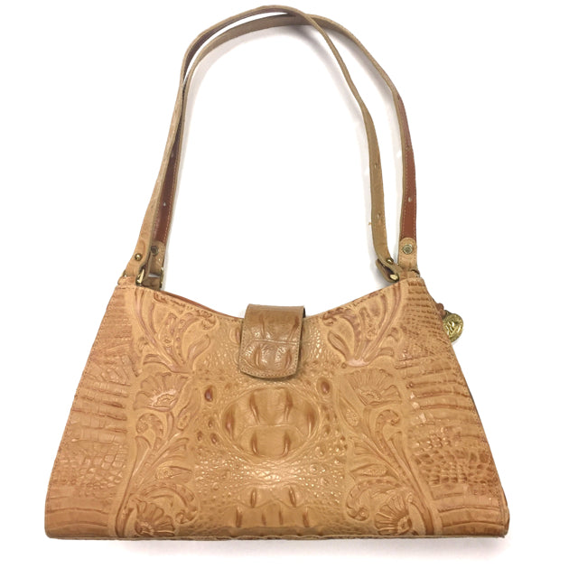 Beige Embossed Brahmin Handbag - Treasures Upscale Consignment