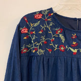 orange creek Size L Navy Embroidered Long Sleeve Dress