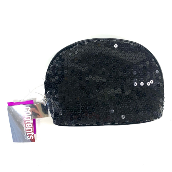 Contents By Allegro Black Sequined Makeup Bag