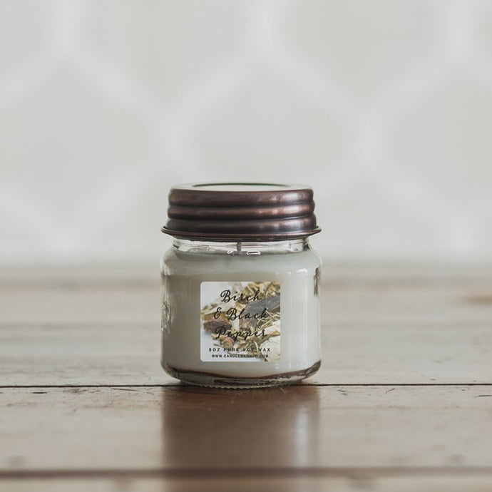 Birch & Black Pepper 8oz Mason Jar Soy Candles