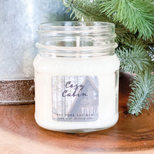Load image into Gallery viewer, Cozy Cabin 8oz Mason Jar Soy Candles