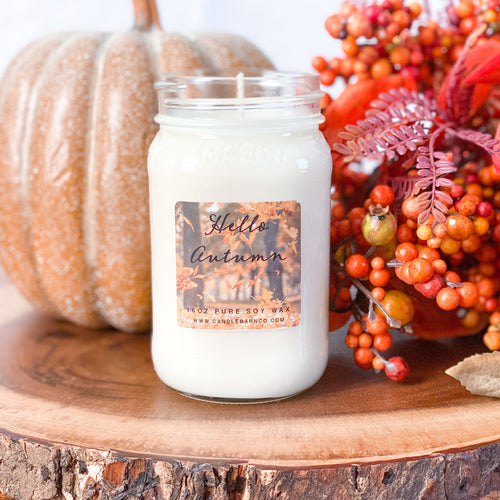 Hello Autumn 16oz Mason Jar Soy Candles