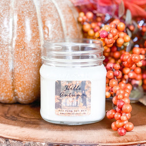 Hello Autumn 8oz Mason Jar Soy Candles