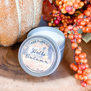 Hello Autumn 4oz TIN Soy Candles